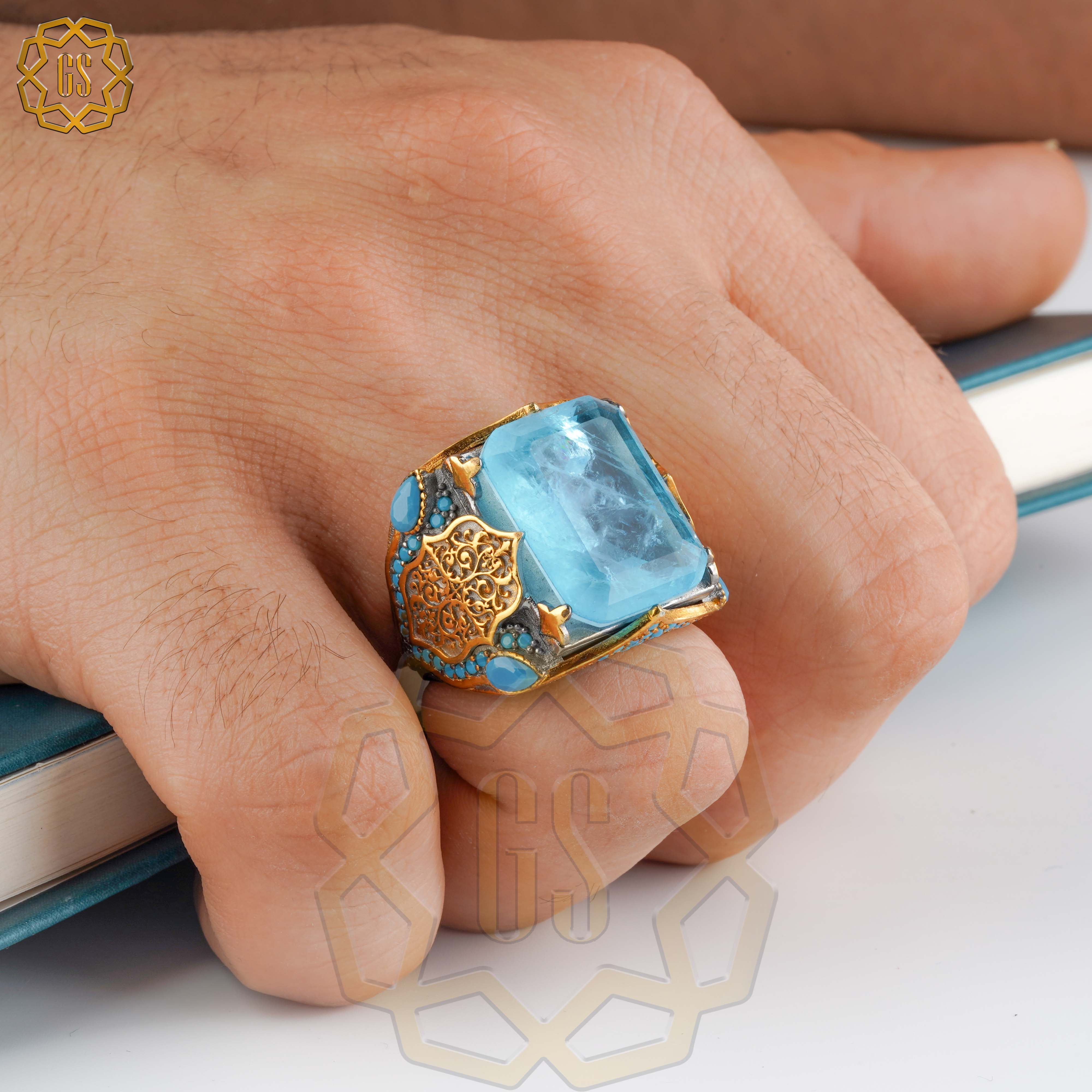 Silver Ring For Men 925 Made in Turkey With Zircon Stone .. Guaranteed High Quality .. Turkish Jewelry