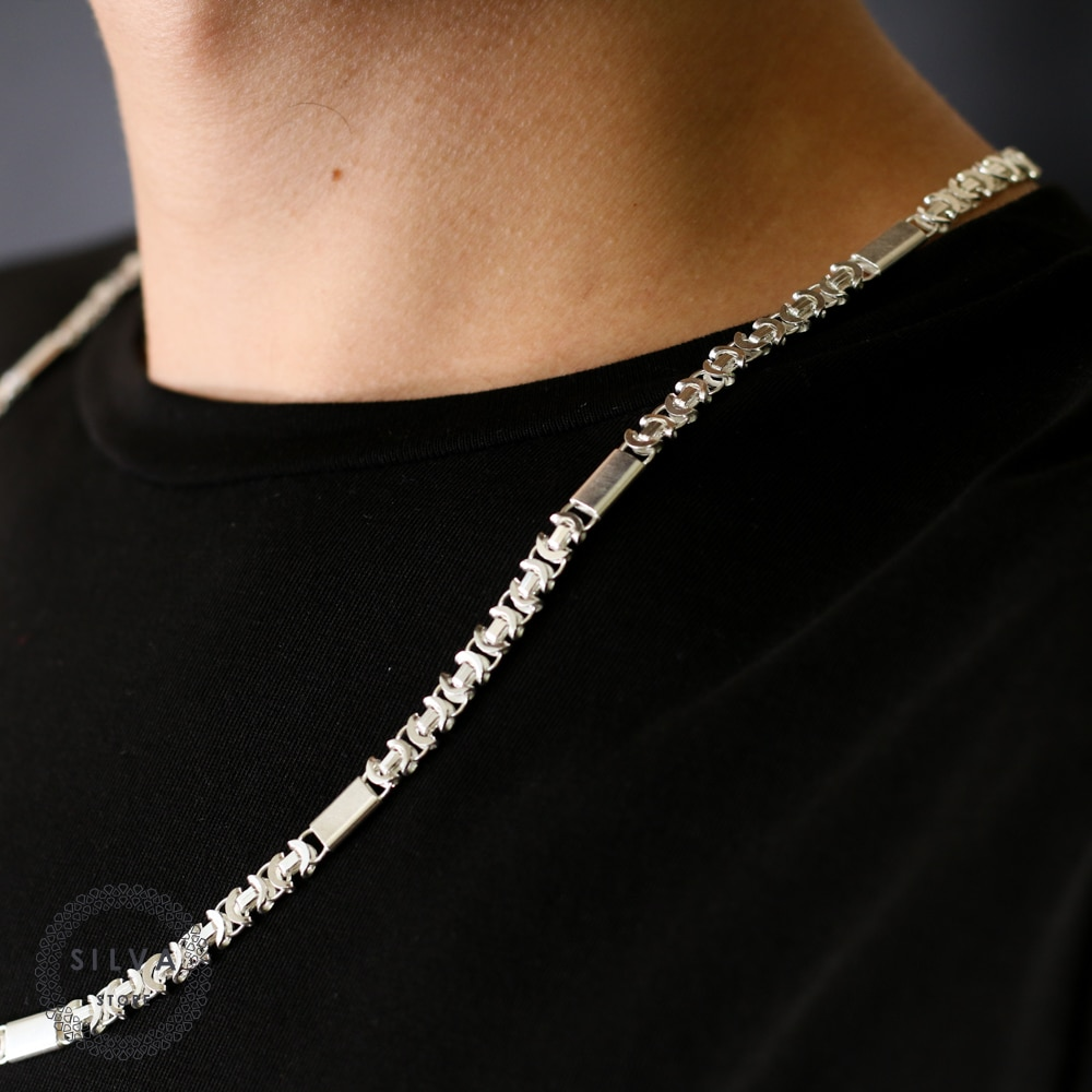 Silva Original 925 Sterling Silver 6mm Euro King Chain Necklace for Men S925 Silver Fashion Jewelry Gift Mens Chains