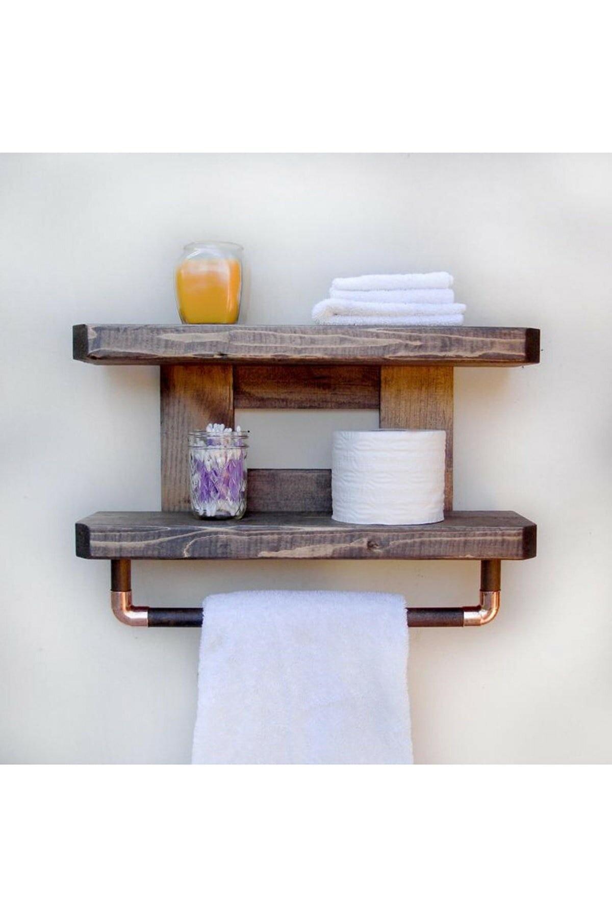 100% خشب متين رف الحمام 2 طبقات منشفة حامل خشبي الحمام المنظم منشفة حامل رف الحمام خشبية حمالة تعليق جدارية
