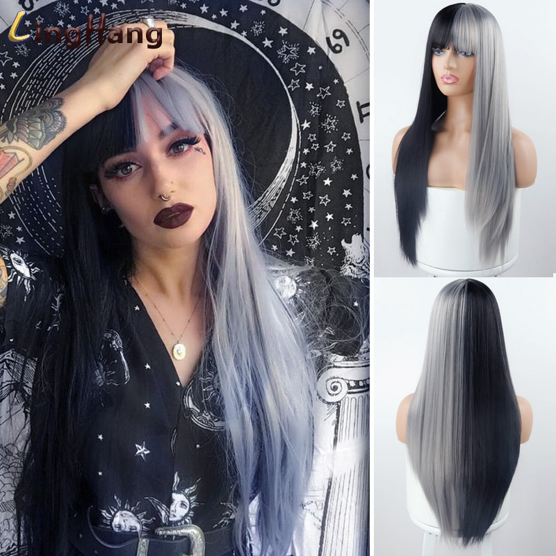 Linghang, peluca sintética de pelo liso largo y flequillo, negro, marrón, rojo, 9 colores, peluca para mujer sintética de alta temperatura