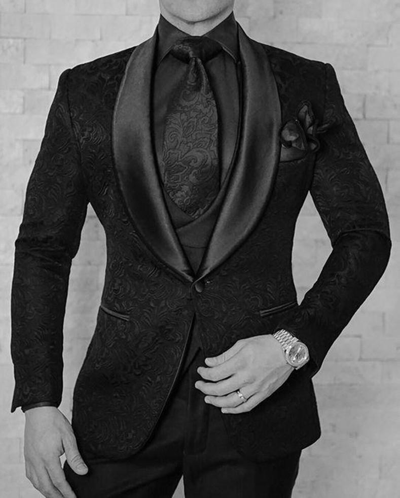 موضة جديدة زر واحد أسود بيزلي العريس البدلات شال التلبيب العريس أفضل رجل الدعاوى بدل زفاف رجالي (سترة + بنطلون + سترة + ربطة عنق