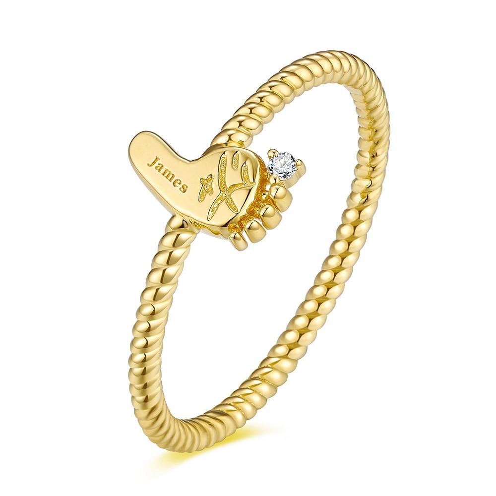 18K Gold Baby Custom Made Footprint Ring