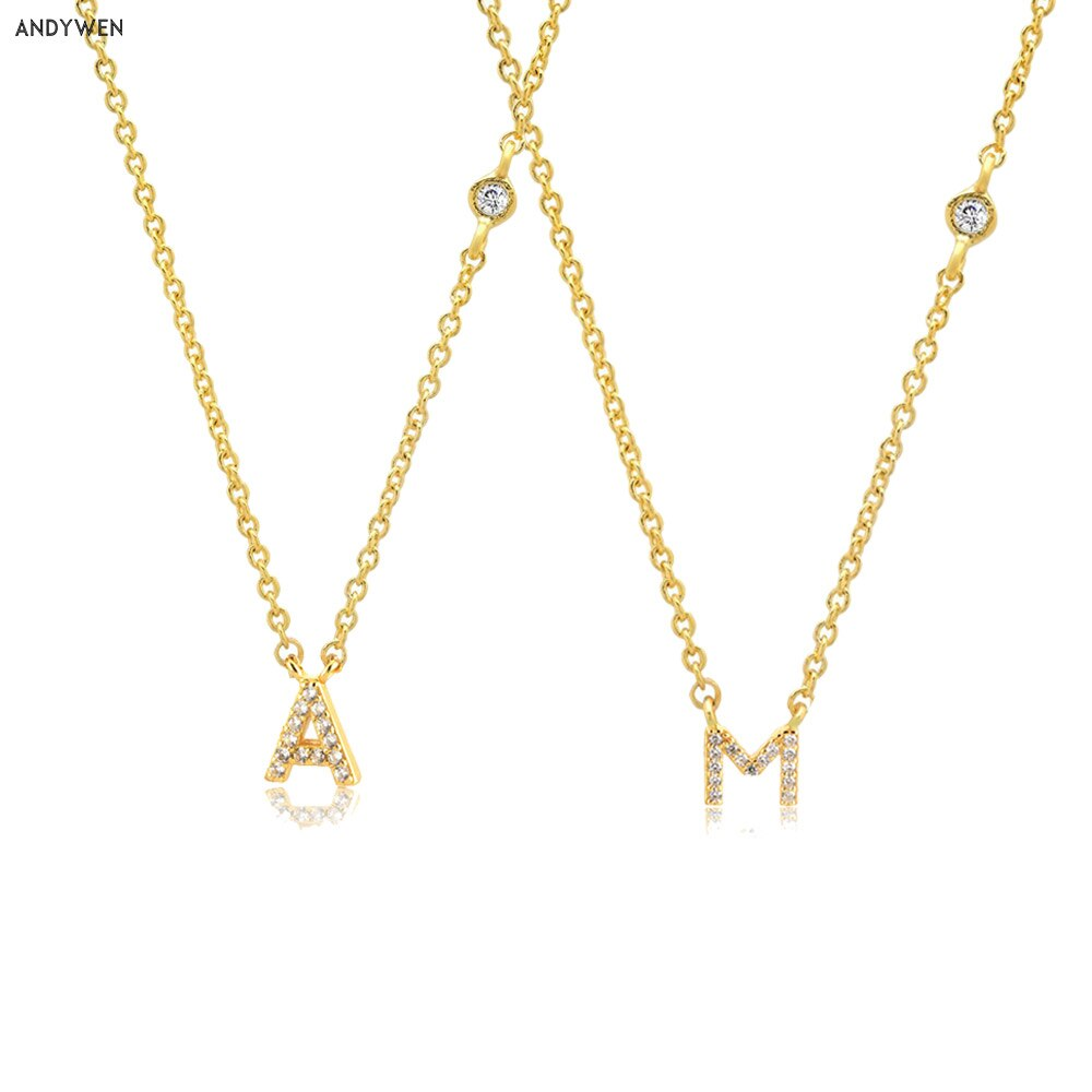 AliExpress - ANDYWEN 925 Sterling Silver Gold Small 26 Letters A- Z Zircon CZ Pendant Monogram Necklace Me 2020 Initial Alphabet M A Jewelry