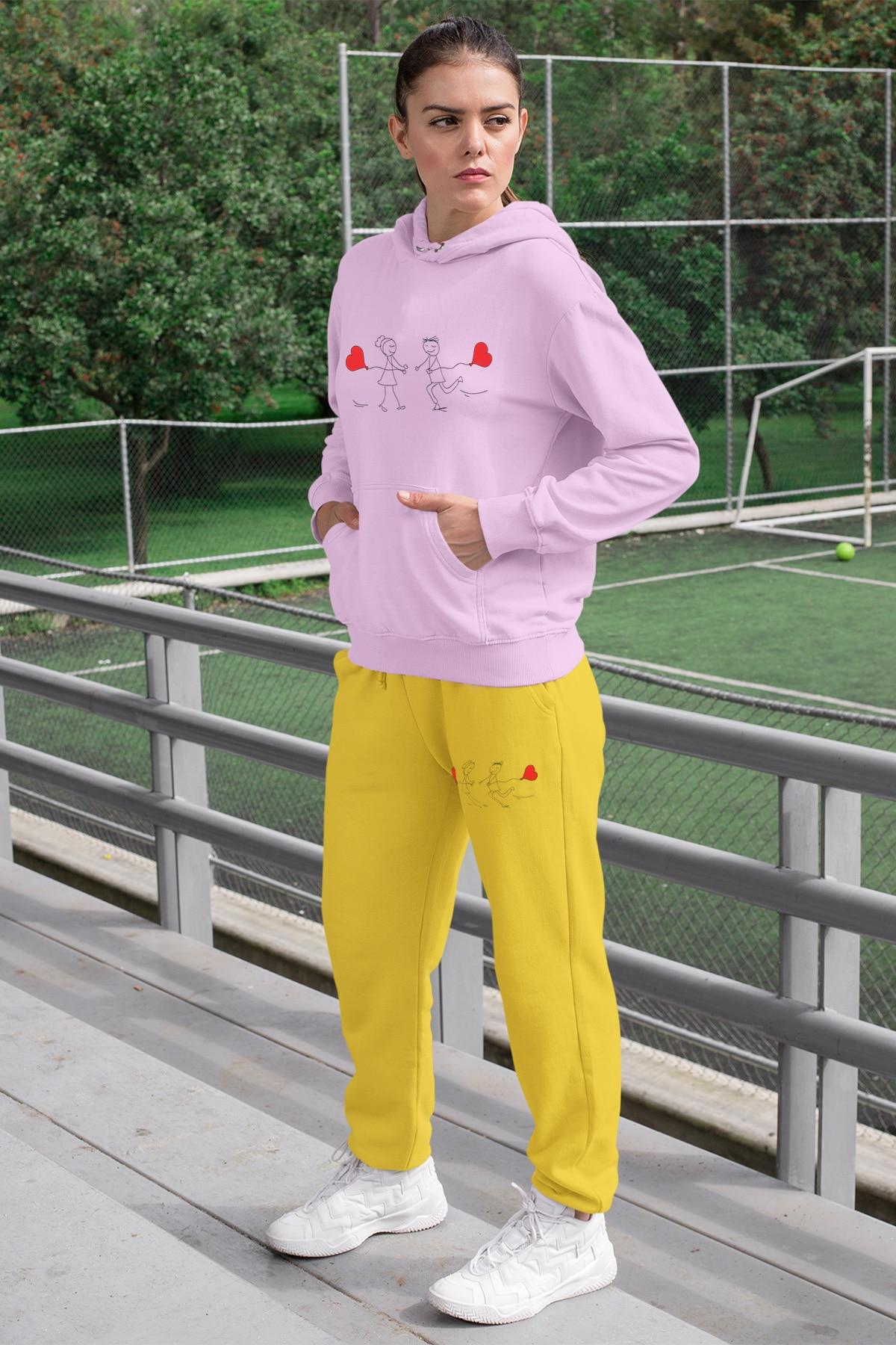 Angemiel wear juntos correndo amantes conjunto de treino feminino rosa com capuz moletom amarelo sweatpants