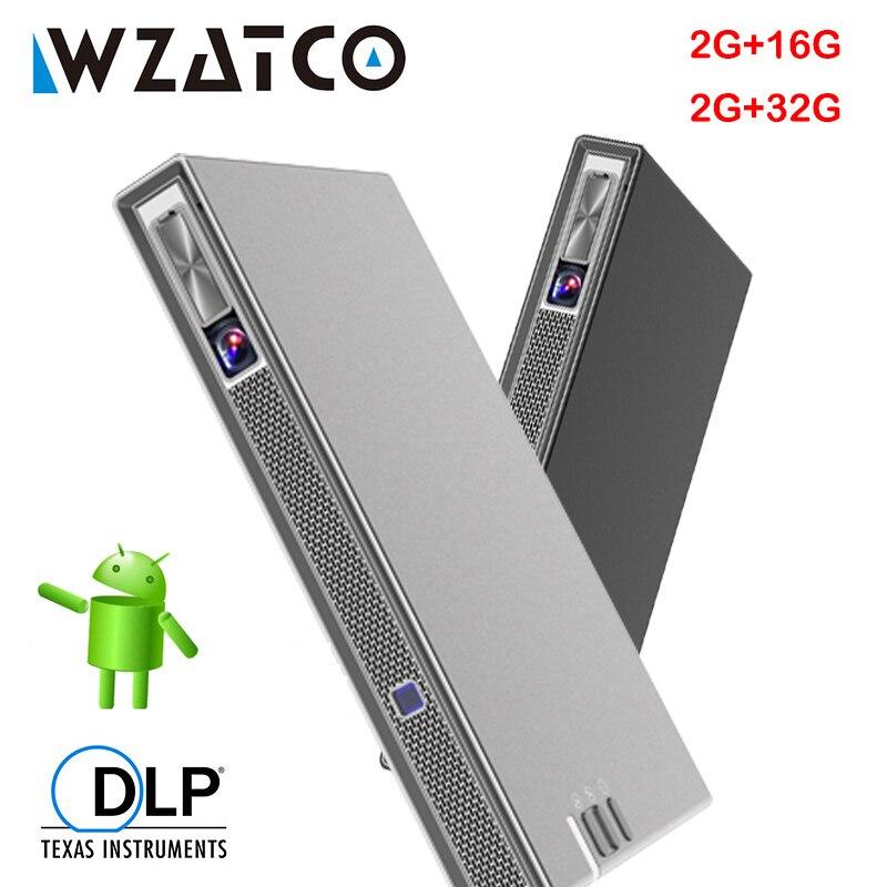 WZATCO T5 DLP 3D Proyector 4K 5G WIFI Smart Android para cine en casa Beamer Full HD 1080P Video láser portátil MINI Proyector