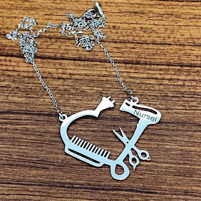 Brush Comb Scissors Barber Is Silver Necklace