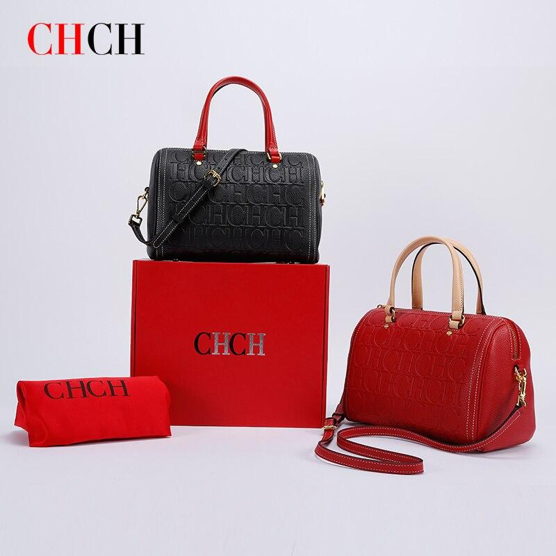 CHCH حقائب النساء سعة كبيرة خمر 100% جلد طبيعي موضة العلامة التجارية حقائب كتف السيدات حقائب النساء حقيبة ساعي