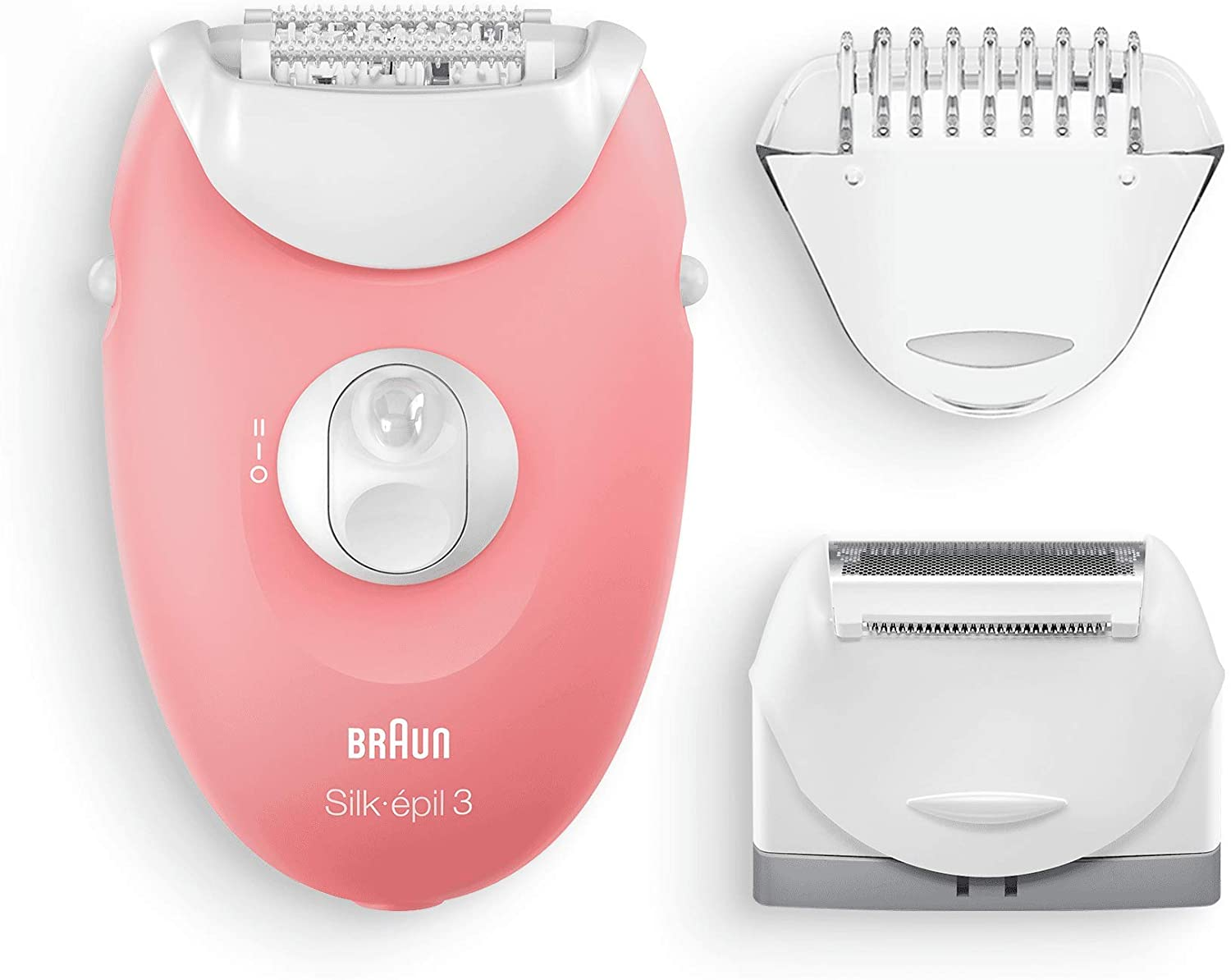 Braun 3440 Silk-Epil 3 Cord Dry Use Epilator with 2 Additional Heads, White and Pink enlarge