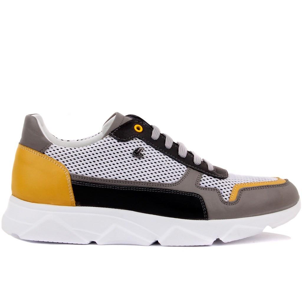 Sail Lakers-أحذية جلدية غير رسمية للرجال ، أحذية رجالية باللون الرمادي والأصفر والأسود