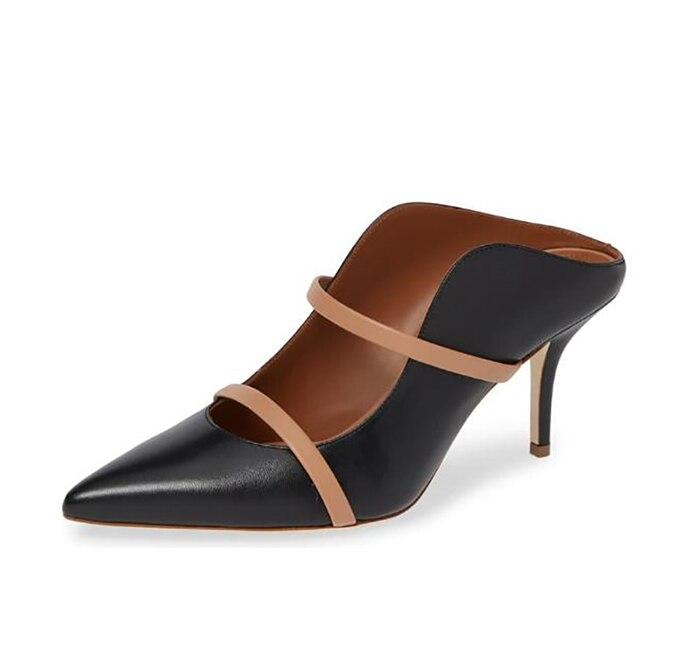 حذاء مفتوح بكعب عالٍ مع مقدمة مدببة للنساء ، حذاء مفتوح مناسب لحفلات الزفاف ، لفصلي الربيع والخريف