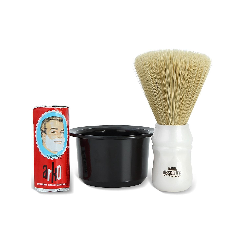 Arko Barber Shaving Soap 75 Gr. + Nano Absolute Neck Brush + Shaving Bowl Bowl Arko