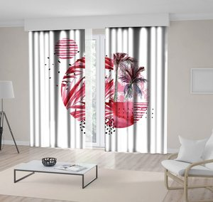 Curtain Tropical Palm Trees Leaves Sea and Geometric Shapes Floral Watercolor Artwork Red White