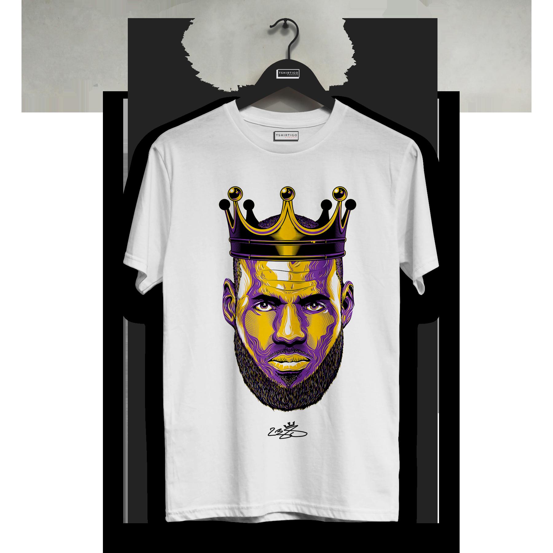 Футболка с надписью «Lakers LeBron James Crown of a King» футболка с принтом «Lebron James» баскетбольная футболка «NBA Lakers» в подарок Спортивная белая футболка