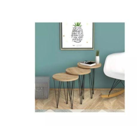 3 قطع طاولة قهوة صغيرة حديثة غرفة المعيشة طاولة شاي Zigo عملي خشب متين اكسسوارات منزلية مصنوعة من الساق المعدنية في تركيا