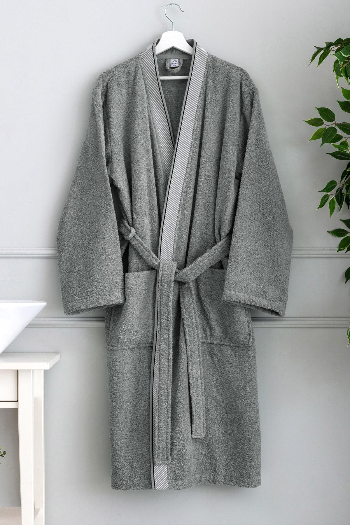 блуза lc waikiki lc waikiki mp002xw1csvu Lc Waikiki Robe Gray Color Men 'S Clothing bathing suits cotton production with pockets robe free shipping