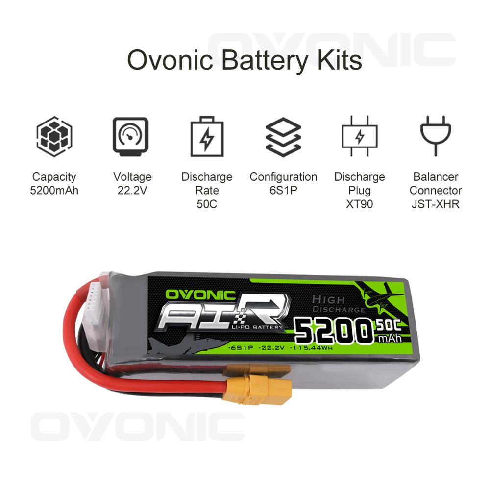 OVONIC 22.2V 5200mAh 6S 50C Lipo Battery With XT90 Plug For Arrma Car Racing Airplane Quadcopter Helicopter Car Truck Boat Hobby enlarge