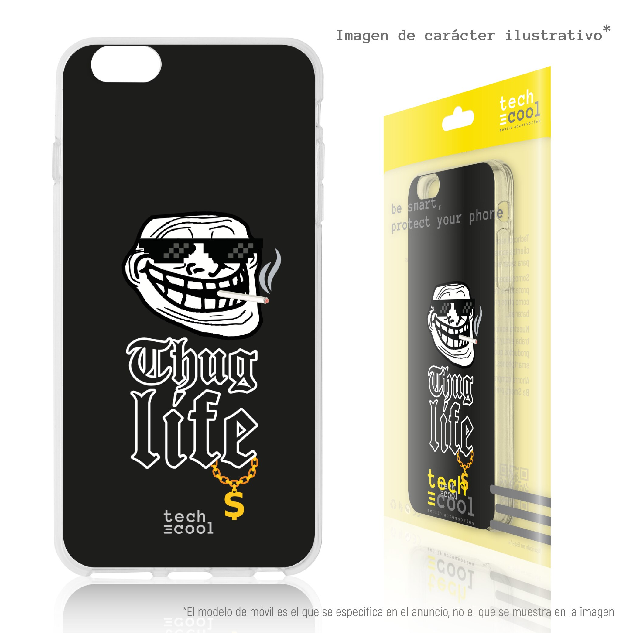 FunnyTech® Funda Silicona para Samsung Galaxy S8 l Memes Troll face thug life