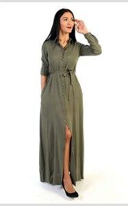Haki Düz Renk Gömlek Elbise