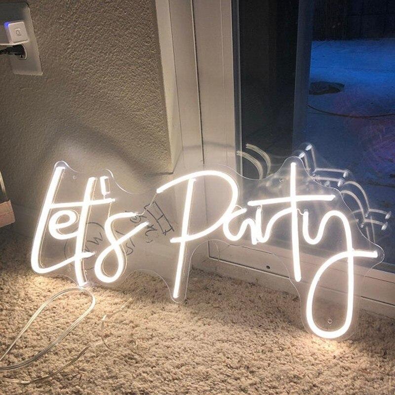دعونا حفلة شعار نيون مخصص ضوء LED فليكس لوح أحرف للحزب بار حانة في الهواء الطلق داخلي INS الجدار الديكور كول هدية