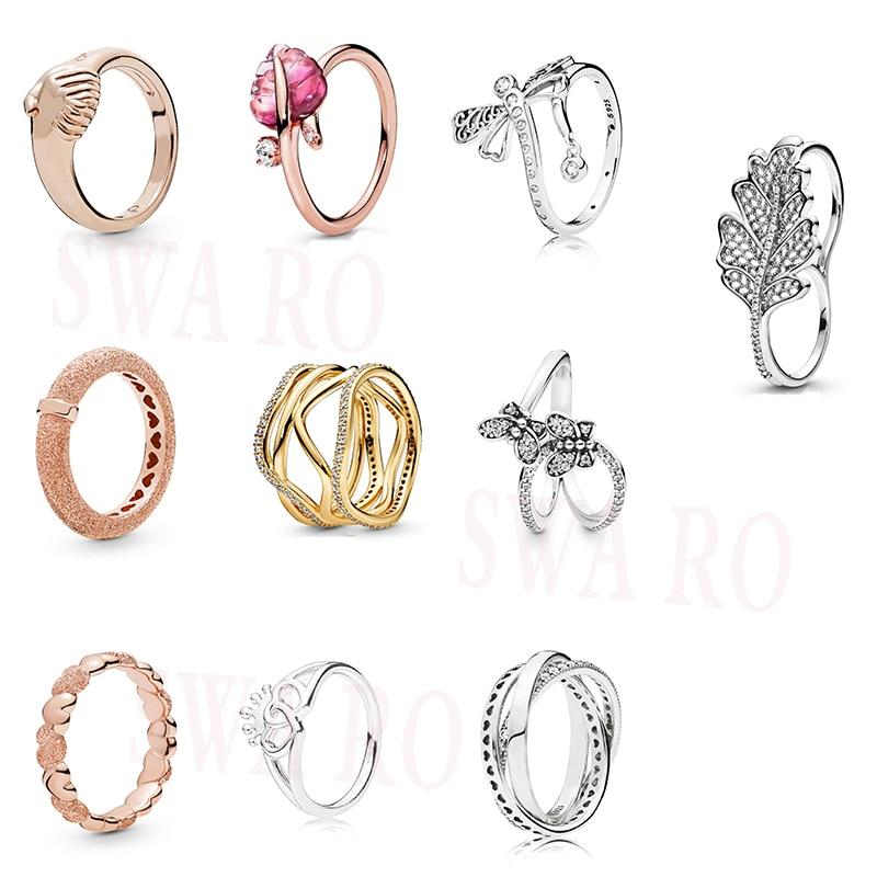 Clásico S925 hoja de cristal de Murano rosa, FEMALE-EMPOWERMENT, líneas enrevesadas, Libélula reluciente, anillo de corazones de mariposa deslumbrante