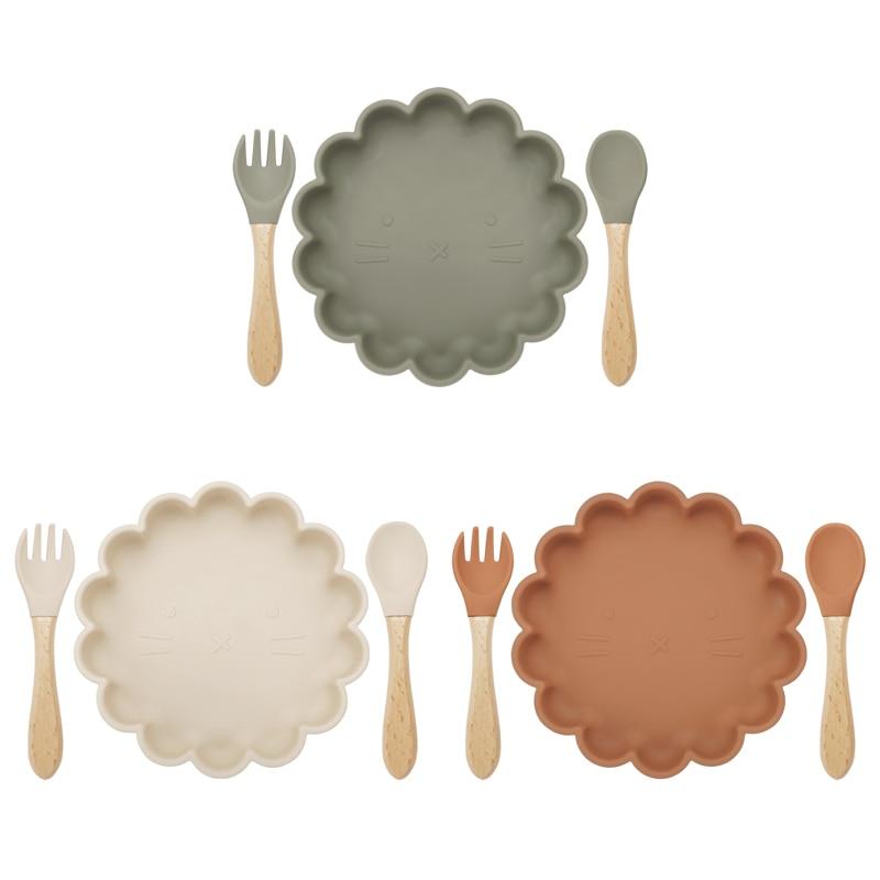 3pcs Baby Plate Spoon Fork Feeding Food Tableware set Feeding Bowl Food Grade Silicone Non-slip Flower Shape Bowl BPA Free