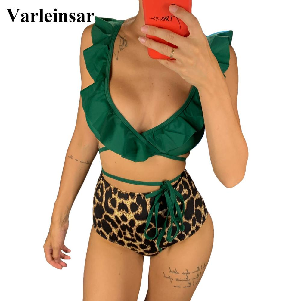 Bikini de cintura alta con volantes, traje de baño del 2019 para mujer, conjunto de Bikini de dos piezas, bañador envolvente V1472