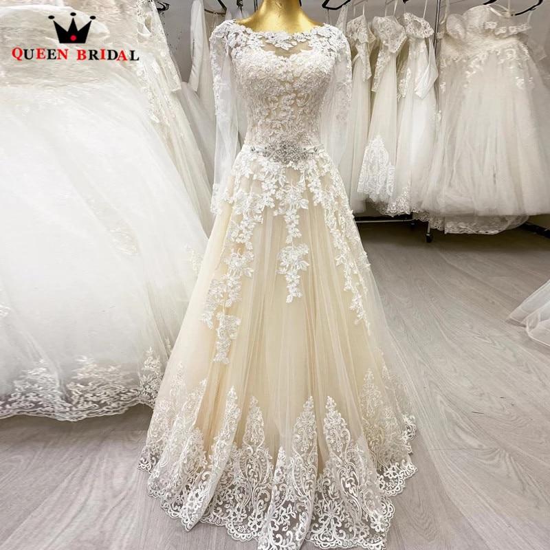 فستان زفاف أنيق a-line بأكمام طويلة تول دانتيل مطرز كريستال فساتين عروس بسيطة DJ06