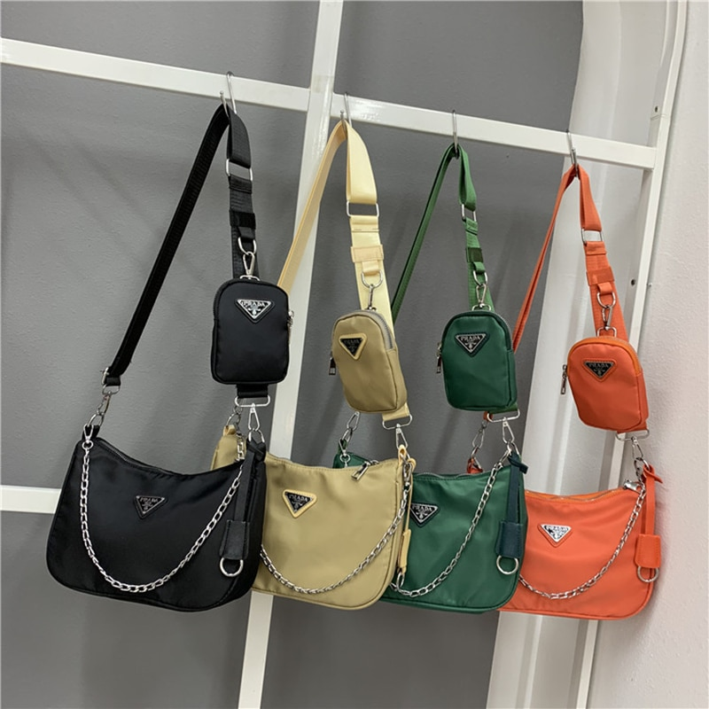 2021 Prada New 2pc Nylon Oblique Cross Female Baozi MotherBag Armpit Bags