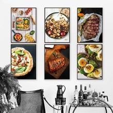Toile impression dimages HD   Peinture murale de Style nordique, Pizza Steak citron Orange, maison modulaire, affiche moderne, décoration de cuisine