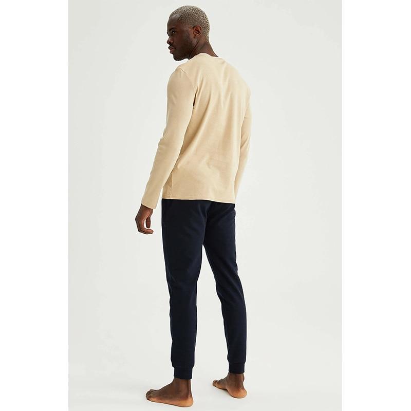 New 2021 Spring Men\'s Pajamas Long Sleeve Men\'s Pajamas  Set Men Pure Full Cotton Pajamas for Men Sleepwear Suit Homewear  Elastik Unit bee