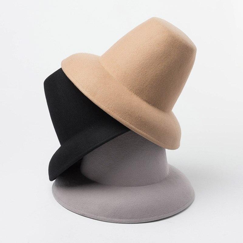 Nuevo sombrero de invierno clásico Unisex abrigado ala ancha estilo Retro de alta calidad cono de lana fieltro sombrero de escenario espectáculo mujeres hombres Mack Luxe Fedora sombrero