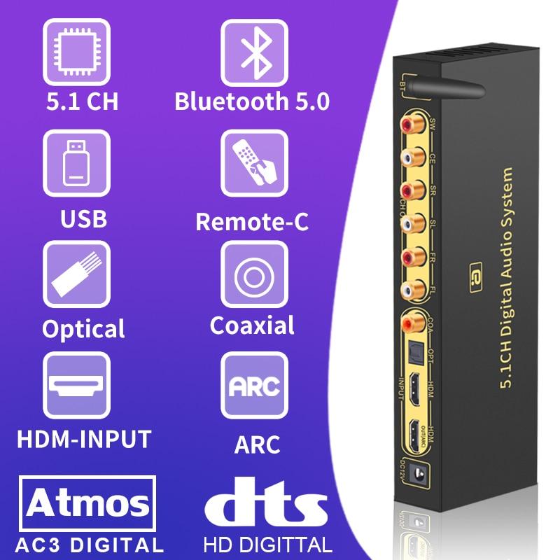 HD820 5.1CH محول صوت فك بلوتوث 5.0 DAC HDMI متوافق قوس SPDIF محوري RCA DTSHD AC3 FLAC APE 4K * 2K 192khz