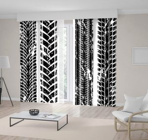 Curtain Car Dash Track Isolated on White Rustic Home Decoration Theme Black and White