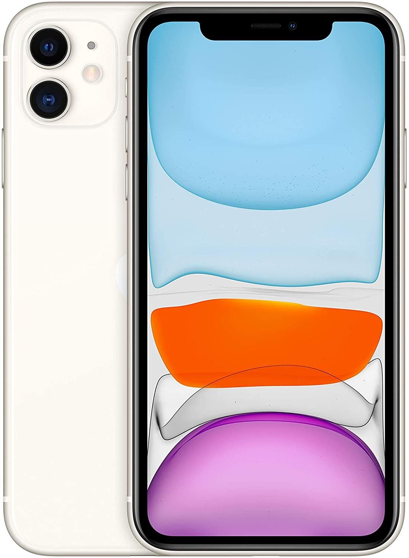 "Teléfono Apple iPhone 11, Color Blanco (White), 128 GB de Memoria Interna, 4 GB de RAM, Pantalla de 6,1"", Cámara front"