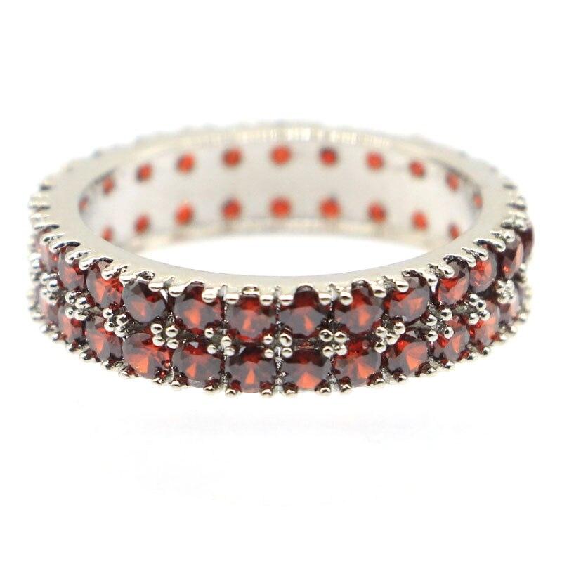 22x5mm SheCrown красивый созданный гранат подарок для дам серебряные обручальные кольца