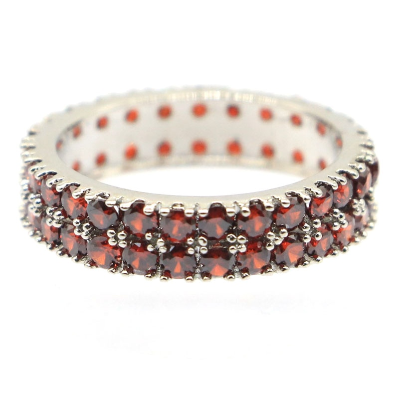 22x5mm SheCrown hermoso granate creado regalo para las señoras boda anillos de plata