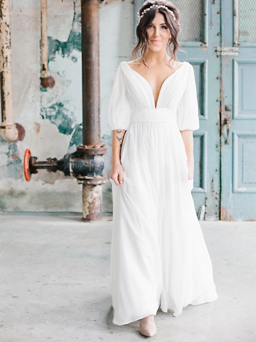 romantic-chiffon-simple-french-wedding-dress-v-neck-ruched-beach-a-line-backless-cold-shoulder-plus-size-2021-new-bridal-gown