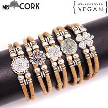 Liège rond naturel de 3mm avec perles de fleur de zamak bracelet de bijoux fait main pour les femmes BR-443-MIX-5