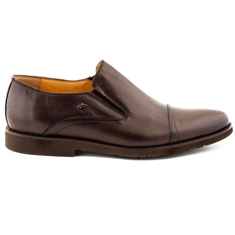 Shoes For Men Casual Genuine Leather Comfort Brown Color Inside Out Leather Orthopedic Insole Normal Fit Suitable For Foot Anatomy Slip-On Classic Shoes Fashion Business Suit Wedding Event 021403