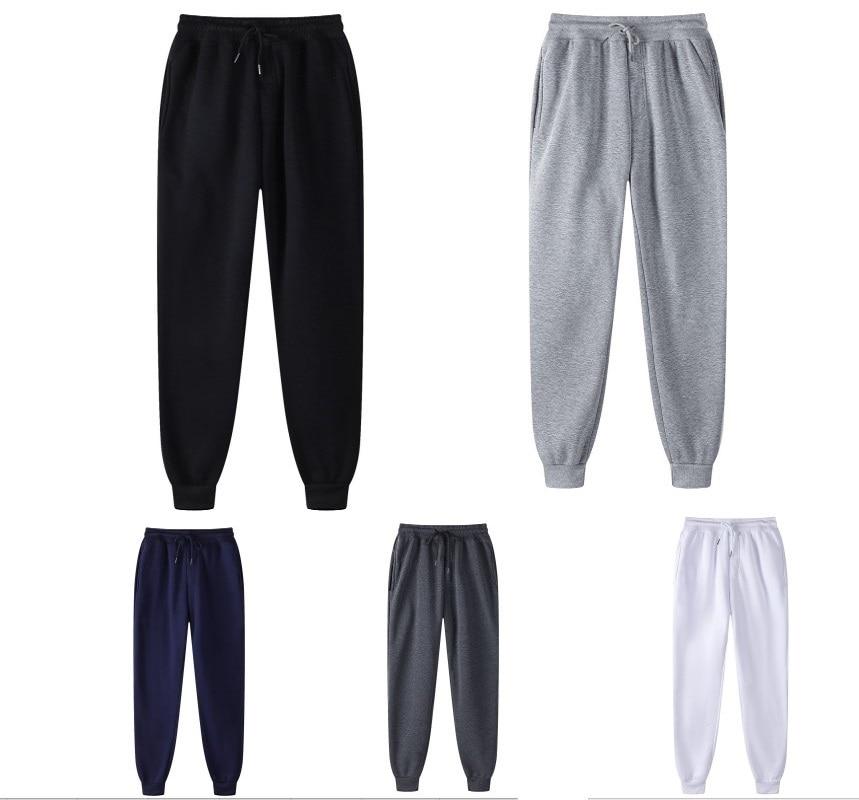 Pantalon décontracté pour hommes et femmes, mode coréenne, Jogging, automne, noir, blanc, Sport, couleur unie, survêtement quotidien
