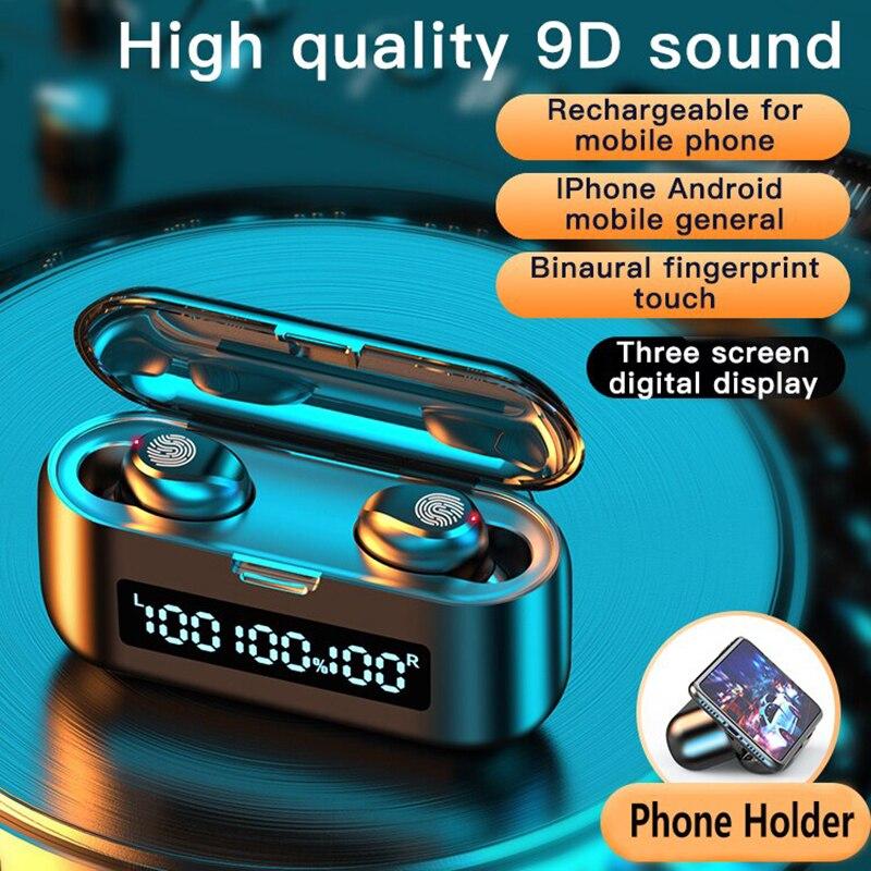 Fones de Ouvido sem Fio Fone de Ouvido Conjuntos Nova Bluetooth 5.0 Tws 9d Alta Fidelidade Mini In-ear Esportes Correndo 50 2021 f9