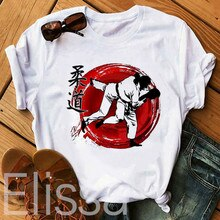 Gran oferta Kanji Judo Sakura camiseta estampada Japón Hokkaido Kodokan Jitsu mujeres verano Tops y camisetas Harajuku chica camiseta