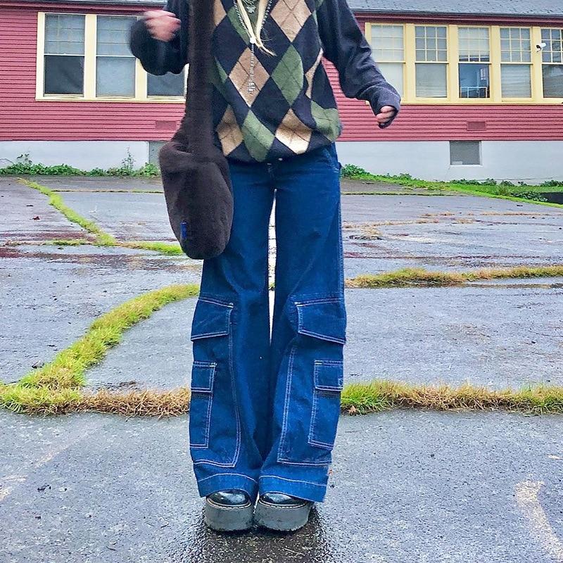 Y2K-بنطلون جينز نسائي واسع الأرجل ، بنطلون كارغو عتيق ، خصر عالي ، قص مستقيم ، جيوب كبيرة ، ملابس الشارع ، Harajuku