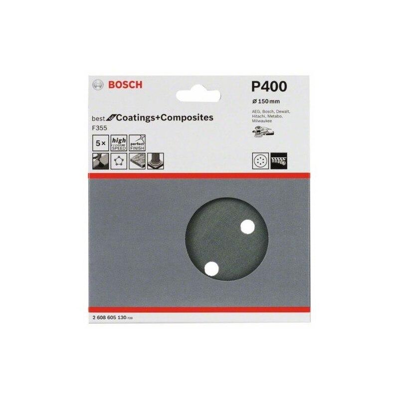 Bosch 2608605130 Hoja de lija para lijadora excéntrica F355 150mm 8P G400 5uds (envase 5 uds.)