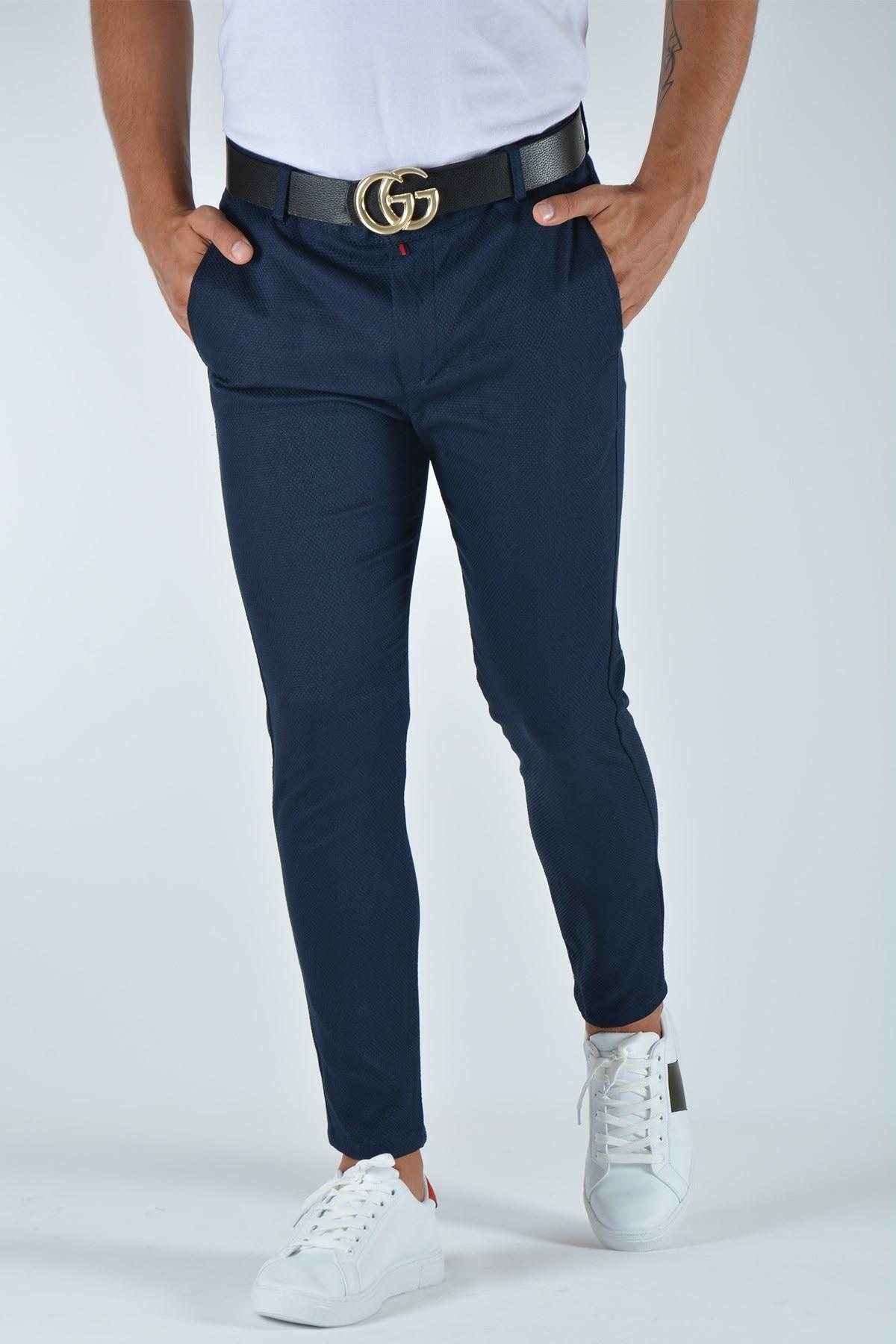 Мужские облегающие льняные брюки 20K-2200340 темно-синие