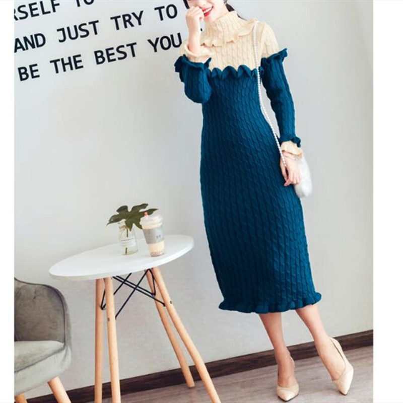 Camisola vestido fino 2020 outono inverno novo retro elegante grande lapela gola cor combinando temperamento fino vestido de manga longa