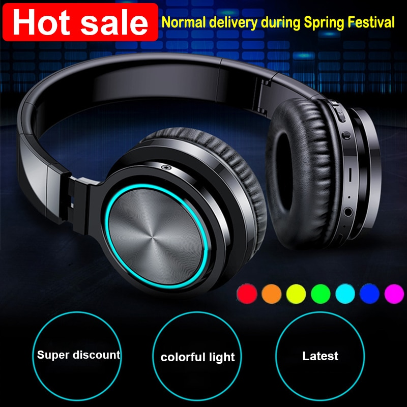 Wireless Headphones Strong Bass Bluetooth 5.0 Headset Noise Cancelling Earphones Supoort TF card APT