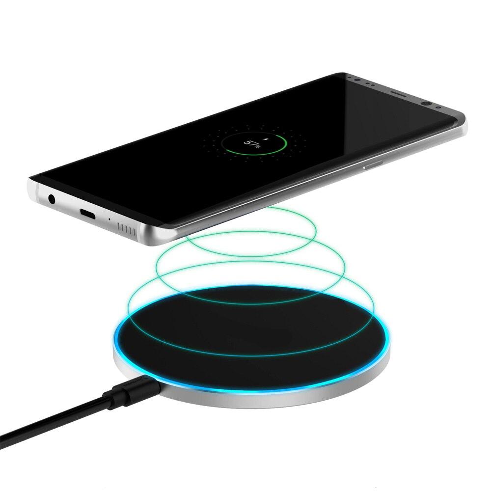 Base de carga inalámbrica para móviles QI carga rápida con iluminación LED conexión mediante USB con diseño ultrafino y elegante