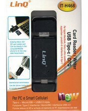 Linq®Ele h468 lector de fotos para telefones celulares/dispositivos com tipo c, micro usb, lector de tarjetas sd/tf