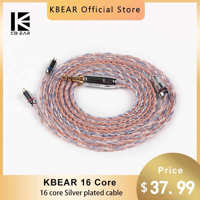 KBEAR 16 الأساسية الفضة مطلي سماعة كابل MMCX/2PIN/QDC/TFZ سماعات الأذن موصل ل IEM KZ ZSN برو بلون BL03 الموسيقى DJ سماعة